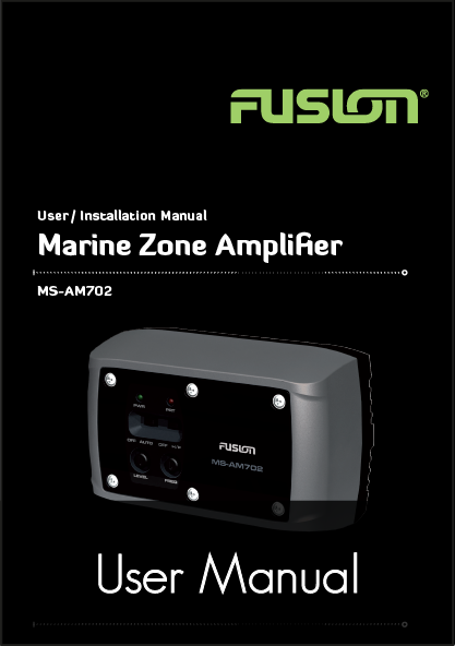 fusion ms am702 marine amplifier user manual