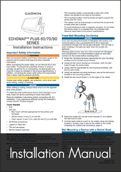 garmin echomap plus 60 70 90 installation instructions