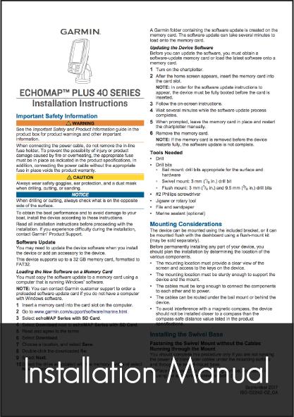garmin echomap plus installation instructions